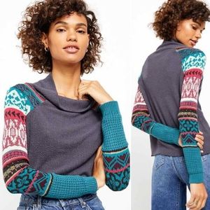 Free People Prism Patchwork Knit Top Sz S